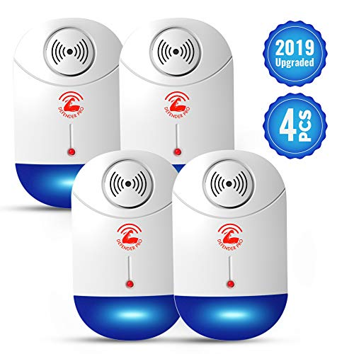 2019 Ultrasonic Pest Repeller, Pest Control Electronic Plug in Repellent Indoor for Flea, Insects, Mosquitoes, Mice, Spiders, Ants, Rats, Roaches, Bugs, Non-Toxic, Humans&Pets Safe 4 Pack