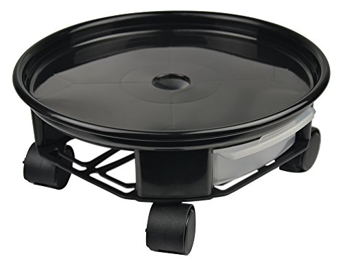 9.4'' Plant Caddy,Round Plant Dolly Trolley Saucer Moving Tray Pallet with Wheels and a Water Container,Black by Zhanwang