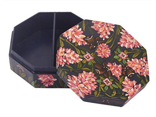 Jewelry Trinket Keepsake Storage Box Wooden Organizer Box Hand Painted Floral Design