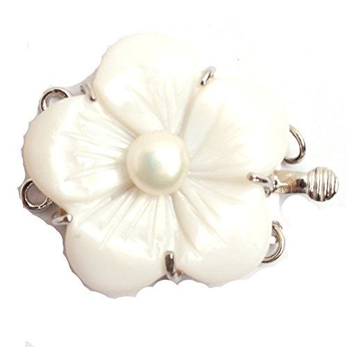 GEM-inside 1Piece Pearl Clasps 2-Strands 25mm Natural Shell Carved Flower Fresh Water Pearl Clasp For Jewellry Making Necklace Bracelet Jewelry Making - Gemstone Carved Flower Beads