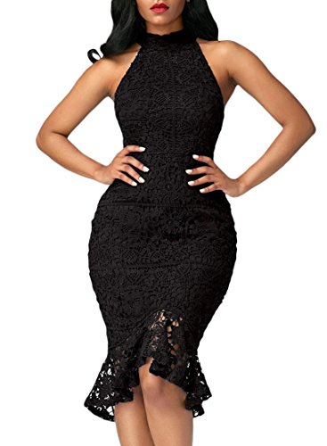 4449110cce Dearlove Women s Sleeveless Mock Neck Floral Lace Cocktail ...