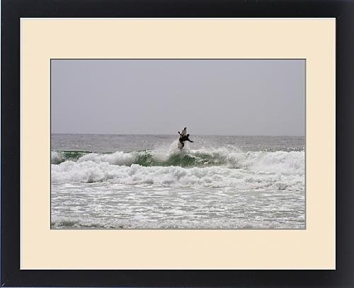 Framed Print of Surfing along Carmel Coastline,California