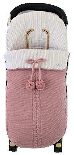 Saco silla de paseo universal de invierno en punto de lana y algodon de rayas. Modelo sophie. Rosa/camel