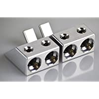 Pair of ANGLED Dual 1/0 Gauge to 1/0 Gauge Amp Input