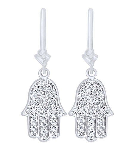White Cubic Zirconia Hamsa Hand of God Charm Dangle Earrings in 14k Solid White Gold (0.50 Cttw) by AFFY