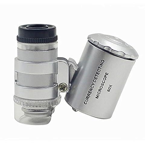 Rocona 60x Handheld Pocket Microscope Loupe with LED Purple Light Glass for Jeweler Magnifier House (Binocular 60x)