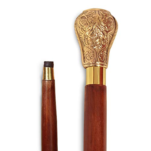 Handle Walking Stick - Lyptus Wood Walking Stick With Regal Brass Knob Handle, Brown And Gold