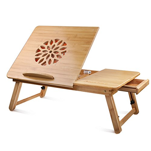- Annstory Bamboo Laptop Desk with Fan Adjustable Portable Lap Desk Table Multi-Function Bed Tray Folding Breakfast Table Tilting Top Drawer Natural Wood