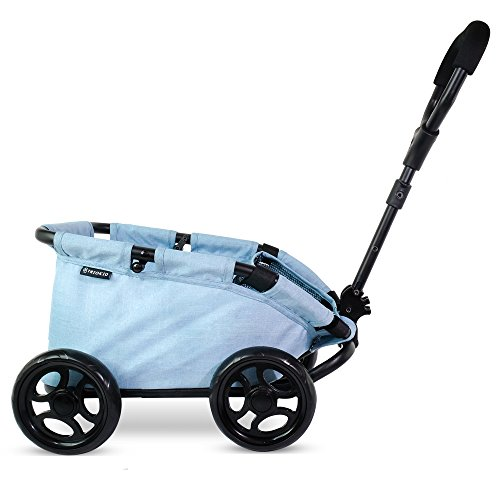 TRIOKID My First Kids Toy Wagon for Doll Trioswagon Blueberry Blue Deluxe Outdoor Doll Stroller Drawable Fabric with Adjustable -