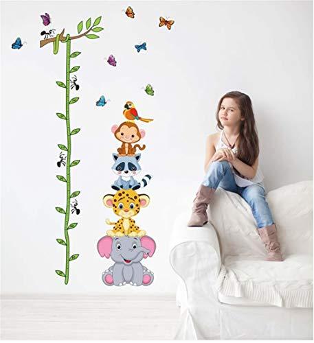 EWQHD Cute Tiger Butterfly Elephant Animals Height Measure Wall Stickers Vinyl Wallpaper Mural Baby Girl Boy Kids Room Nursery Decor -