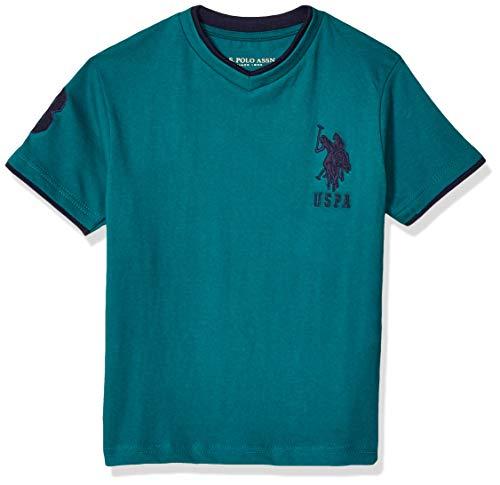 U.S. Polo Assn. Boys' Big Short Double V-Neck T-Shirt, Numbers Three On Sleeve Everglade Green, 14/16