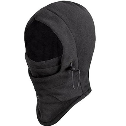 New Polar Fleece Balaclava Warm Full Face Cover Winter Camping Ski hiking snow Mask Beanie Cs Hat for Valentine's Day Gift by seibertron (Black)