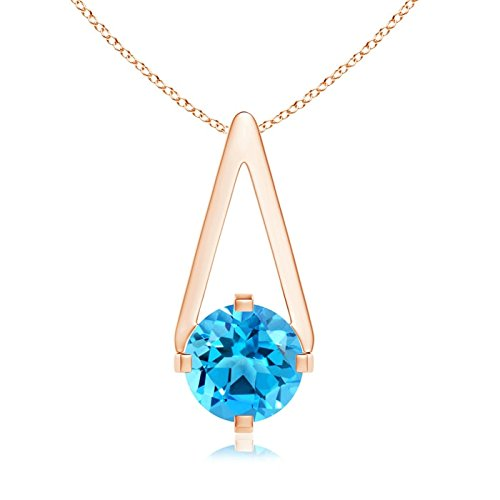Flat Prong-Set Solitaire Swiss Blue Topaz Triangle Pendant Necklace for Women in 14K Rose Gold (6mm Swiss Blue (Blue Topaz Triangle Pendant)