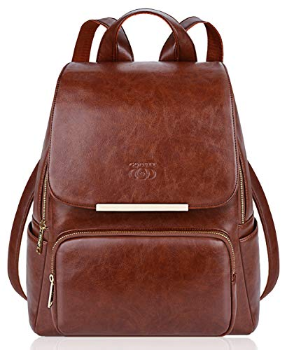 COOFIT PU Leather Backpack School Backpack Casual Daypack with Pouch for Women - Womens Backpack Casual