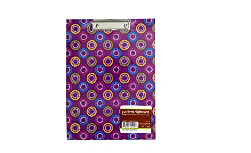 Chrome Plated Clip - Bulk Buys Pattern Paper Clipboard with Steel Chrome Plated Clip Pack of 12