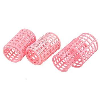 10 piezas de peluquería herramienta de doblado de Pelo plástico de Color rosa rizador de DIY