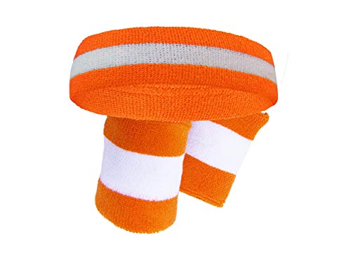 Semi-pro Jackie Moon Orange Striped Sweat Headband Wristband Set]()