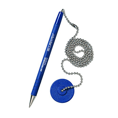 (STEELMASTER Secure-A-Pen Counter Pen with Adhesive Base, Blue with Blue Ink, Pack of 12 (28908))