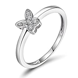 White Gold Bridal Set Butterfly Diamond Ring