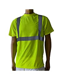 Safety Short Sleeve T-Shirt Reflective Stripes Safety Hi-vis Yellow Knitted Breathable Shirt Bright Construction Workwear for Men.Yellow Meets ANSI/ISEA Standards. (Small)