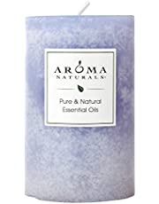 """Aroma Naturals Essential Oil Tranquility Pillar Candle, 2.5"""" x 4"""", Lavender, 11 Ounce"""