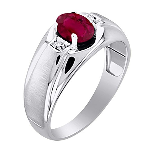 Genuine Ruby & Diamond Ring Set in Sterling Silver With Satin Finish (Diamond Mens Ruby Ring)