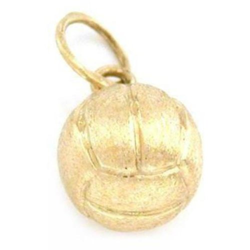 Gold 14k Charm Volleyball (Volleyball Charm 14k Gold 8mm)