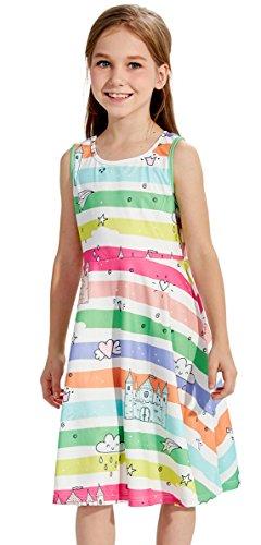 Castle Star rain Cloud Pink Heart Wind Moon Dress, Sleeveless Legging Party Swing Dress for Girls Summer (M,Castle Stars) -