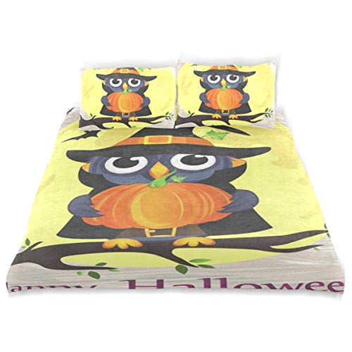 Bedding Duvet Cover Set 3 Pieces Halloween Owl in Witch Costume with Pumpkin Bed Sheets Sets and 2 Pillowcase for Teens]()