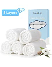 """Muslin Burp Cloths 100% Cotton 8 Layers Baby Burp Cloths Set (5 Pack) for Baby Girl and Boy, Large 20"""" by 10"""", Extra Absorbent and Soft"""