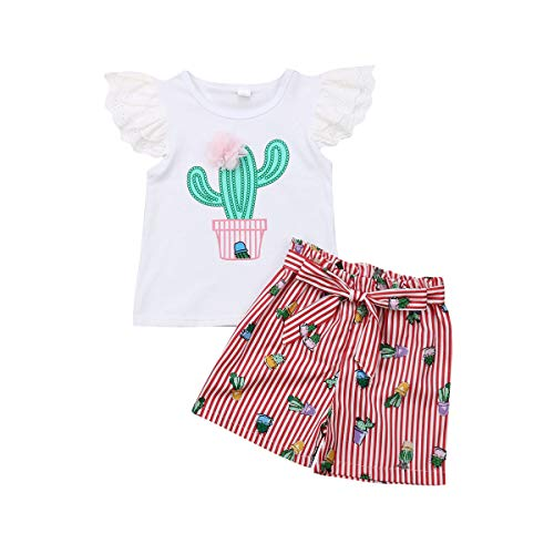 Toddler Baby Girls Ruffle Sleeves Top T-Shirt+Striped Shorts Outfits Summer 2 PCS Clothes Set(White Tee+ Cactus Pinstriped Shorts, 2-3T)