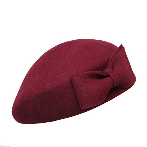 Crytech Winter Warm Beret Hat Fashion Women Vintage Solid Color Bow Knot French Style Wool Artist Cap Elegant Thick Casual Outdoor Painter Beanie Beret for Ladies (Wine)