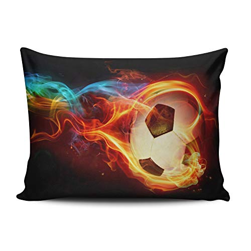 XIAFA Home Custom Pillowcase Flaming Soccer Simple Decorations Sofa Throw Pillow Case Cushion Cover One Sided Printed Design Lumbar 12X20 Inches (Set of 1) ()