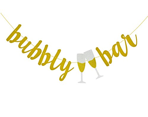 (Fecedy Gold Glitter Bubbly Bar Banner and Goblet Sign For Bachelorette Engagement Wedding Party Decorations)