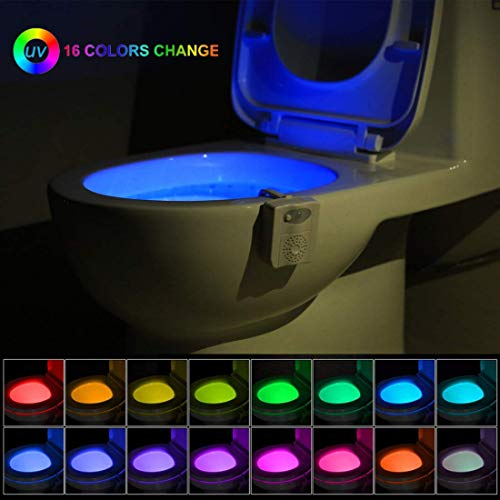 (Toilet Night Light, Motion Detection Toilet Bowl Light, Motion Sensor Activated LED Lamp with Aromatherapy Air Freshener, 16 Color Changing Seat Nightlight for Bathroom Washroom, Activates in)