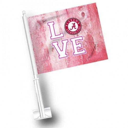 NCAA Alabama Crimson Tide Pink Wood Car Flag Set of 2 ETC
