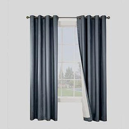 Gorgeous Home (#32) 1 PANEL SOLID PLAIN THERMAL FOAM LINED BLACKOUT HEAVY THICK WINDOW CURTAIN DRAPES SILVER GROMMETS (DARK GRAY, 63