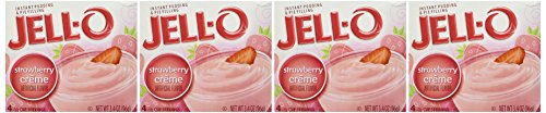 Jell-O, Instant Pudding & Pie Filling, Strawberry Creme, 3.4oz Box (Pack of 4)