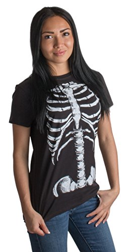 Skeleton Rib Cage | Jumbo Print Novelty Halloween Costume Ladies' T-shirt-Ladies,M Black