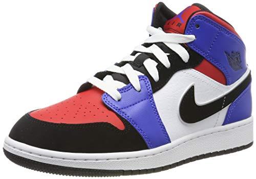 Nike Boy's Air Jordan 1 Mid (GS) Shoe White/Black-Hyper Royal/University Red, Size 3.5 M US Big Kid by Nike (Image #1)