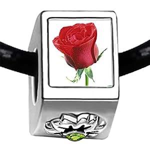 Bañado en plata de rosa roja para fotografías con varios bolsillos lazulí de cristal August cuenta de pulseras piedra natal de flores