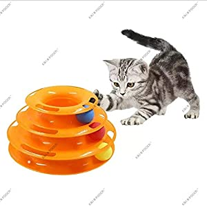 Kiki N Pooch Plastic Tower of Tracks Cat Toy with Balls Pet Amusement Interactive Board Game Toys (Colour May Vary)