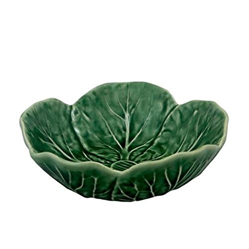 Majolica Pottery - Set of 4 Fruit Sauce Bowls Bordallo Pinheiro Green Cabbage Leaf Majolica Portugal
