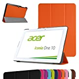 "Acer Iconia One 10 B3-A20 Slim Shell Case,Mama Mouth Ultra Slim Lightweight 3-folding PU Leather Standing Cover For 10.1"" Acer Iconia One 10 B3-A20 Android Tablet,Orange"