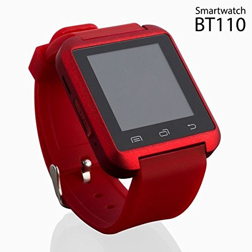 Elegant Red Android Smartwatch with Audio, SMS WhatsApp & Social Media Notifications, Alarm, Sleep Monitor, Music, Chronometer, Barometer, Altimeter, & Pedometer by BT110