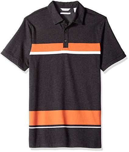(Calvin Klein Men's Liquid Touch Polo Stripe, Gunmetal Heather)