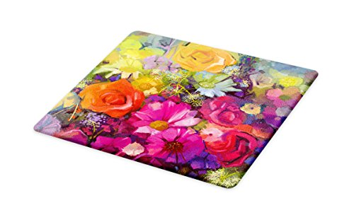 Ambesonne Floral Cutting Board, Vibrant Flower Bouquet with Daisy Peony Gerbera Petals Romantic Arrangement Print, Decorative Tempered Glass Cutting and Serving Board, Large Size, Purple Red