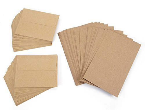 Recycled Blank Cards (Darice 5 x 7 Blank Cards & Envelopes - Value Pack - 50 Count pack of 2 - Natural)