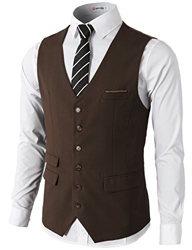 Fit Premium Business Dress Suit Button Down Vests Brown US XL/Asia XXL (CMOV031) ()