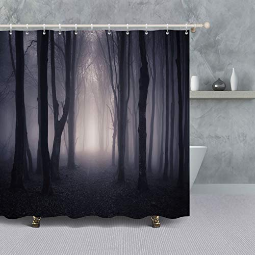 VANCAR Halloween Decor Shower Curtain, Spooky Forest with Dead Trees Fog Path Through a Dark Forest Night Background Waterproof Polyester Fabric Bath Room Curtain Set for Bathroom Decoration ()